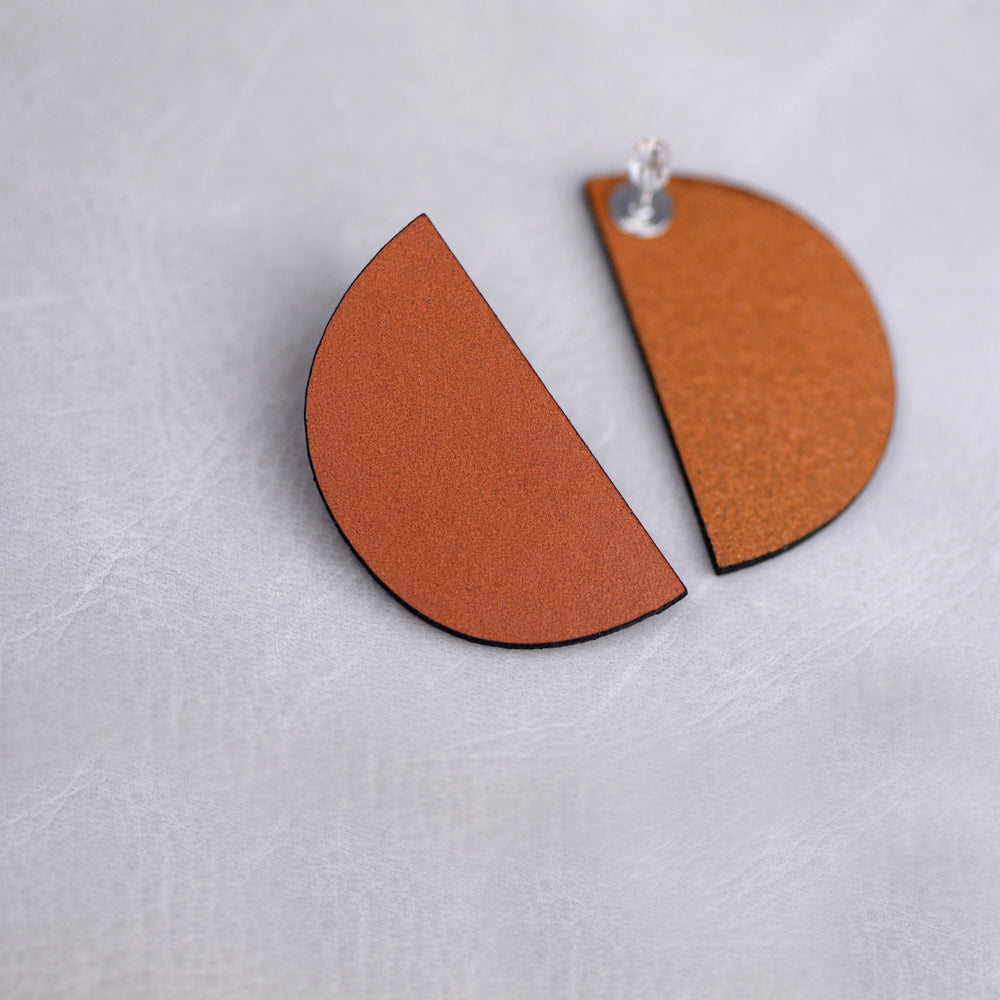 Load image into Gallery viewer, Half Moon Modern Leather Earrings