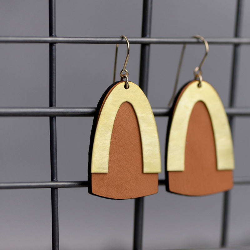 Brass and Leather Earrings