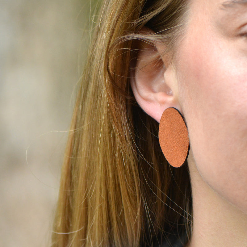 Oval Leather Earrings - Various Colors