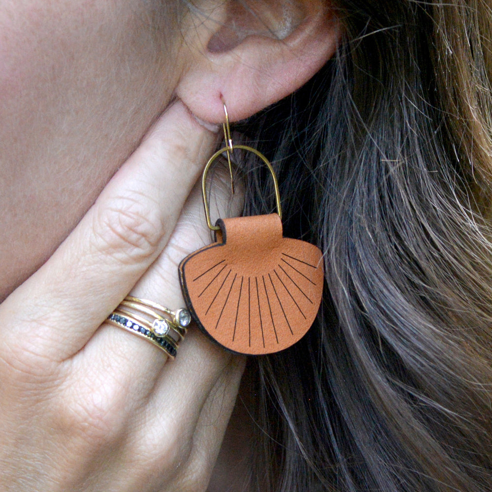Leather Shell Earrings