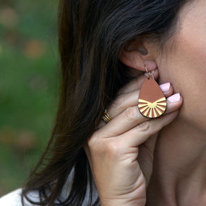 Leather Sunburst Earrings
