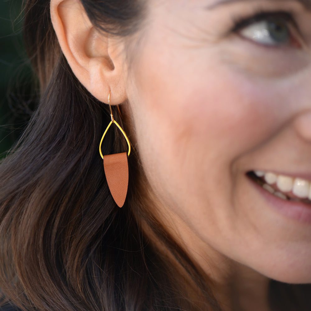 Gold + Leather Earrings