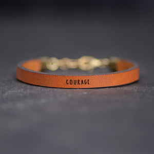 Load image into Gallery viewer, Courage - Inspirational Leather Bracelet by Laurel Denise