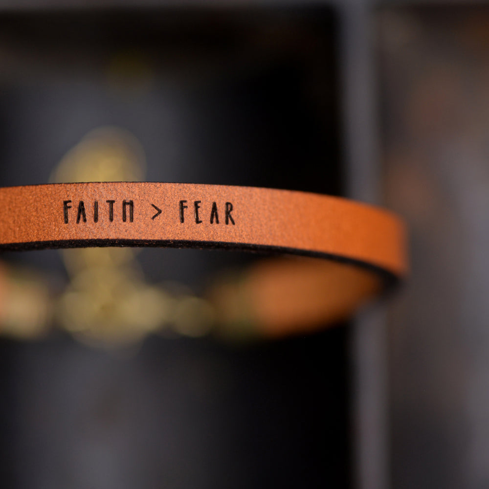 Faith > Fear - Leather Bracelet