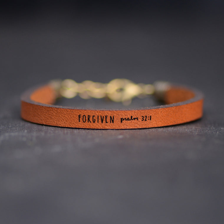 Forgiven - Psalm 32:1 - Leather Bracelet