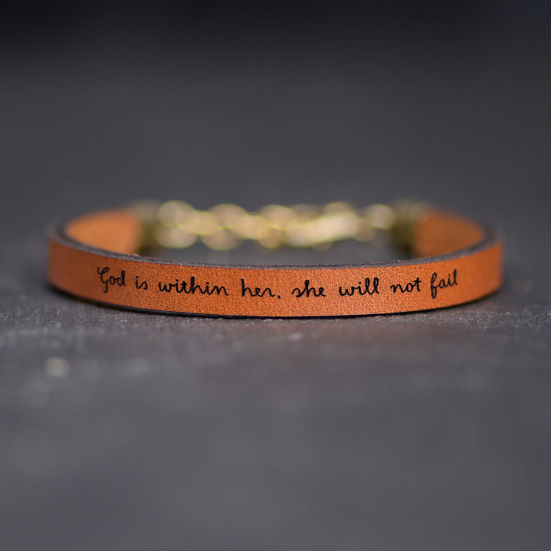 God is Within Her, She Will Not Fail - Christian Bracelets