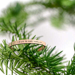 I Am With You Always (Matthew 28:20) - Scripture Leather Bracelet by Laurel Denise
