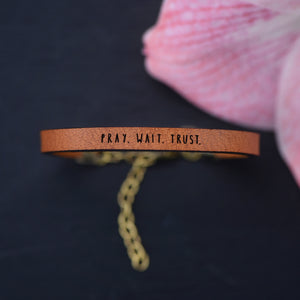 Load image into Gallery viewer, Pray. Wait. Trust. - Leather Bracelet