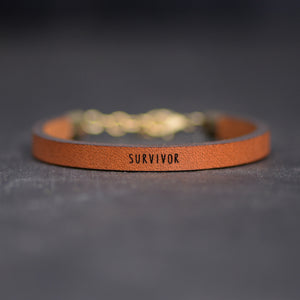 """SURVIVOR"" Leather Bracelet by Laurel Denise"