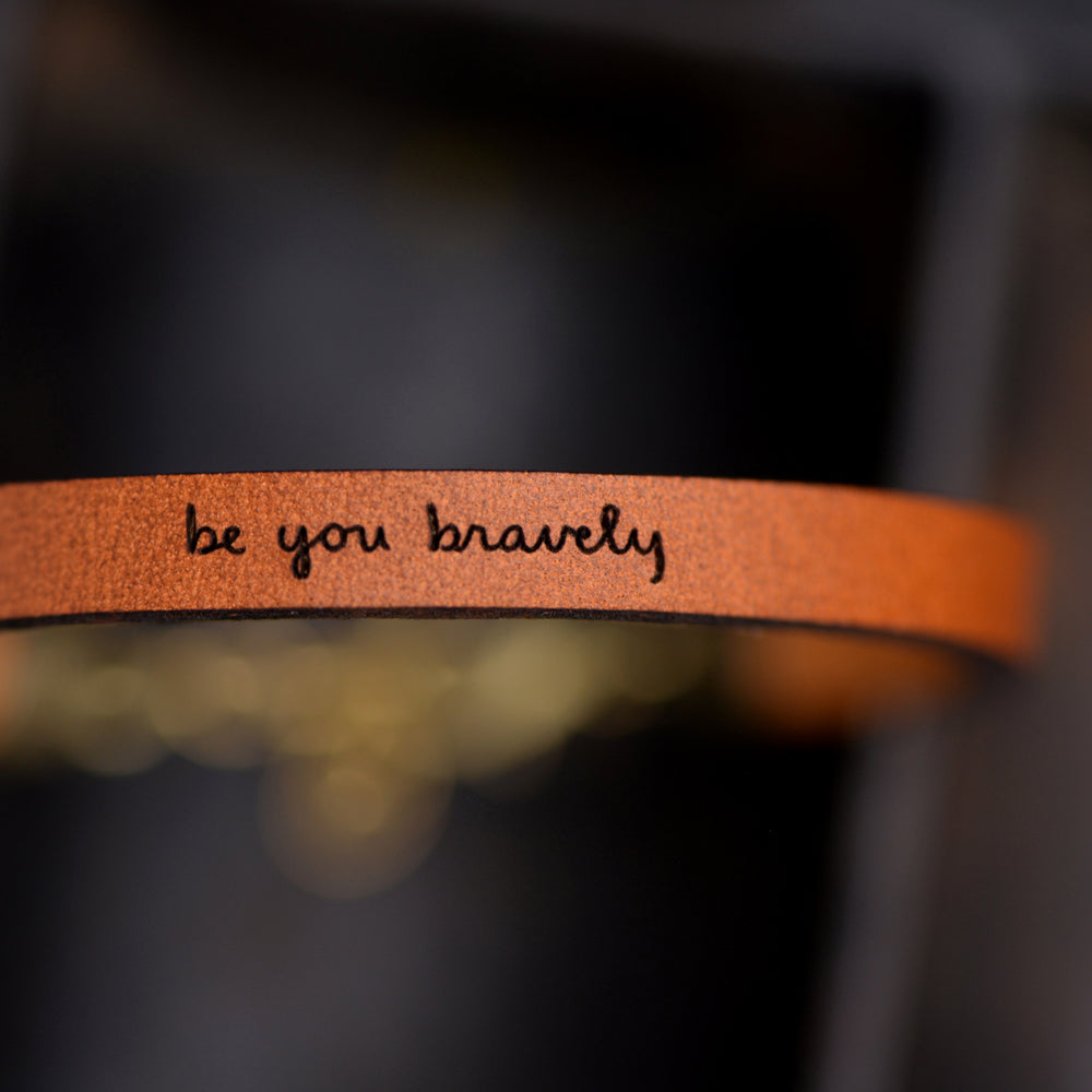 Load image into Gallery viewer, Be You Bravely Leather Bracelet - High School Graduation Gifts by Laurel Denise