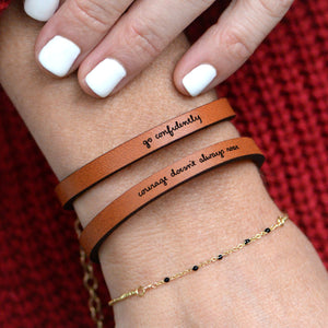 Courage Doesn't Always Roar - Engraved Quote Leather Bracelets by Laurel Denise