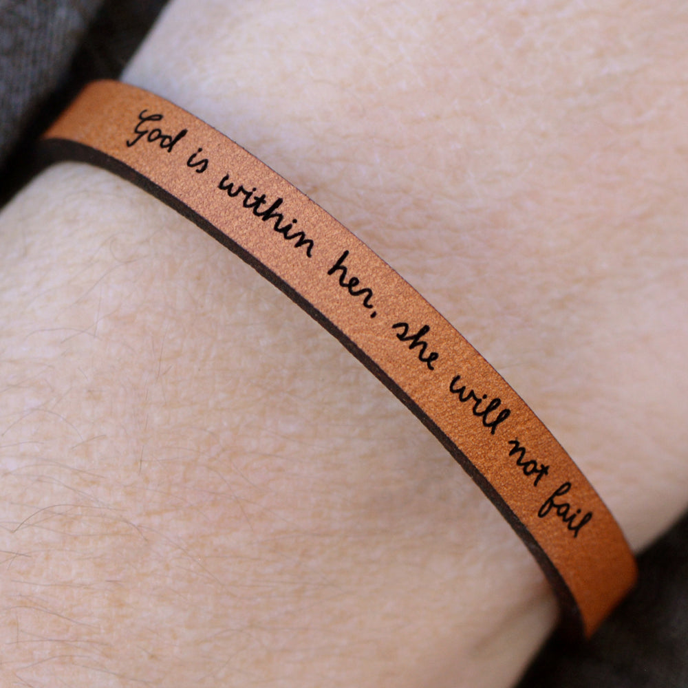 Load image into Gallery viewer, God is Within Her She Will Not Fail - Leather Bracelet