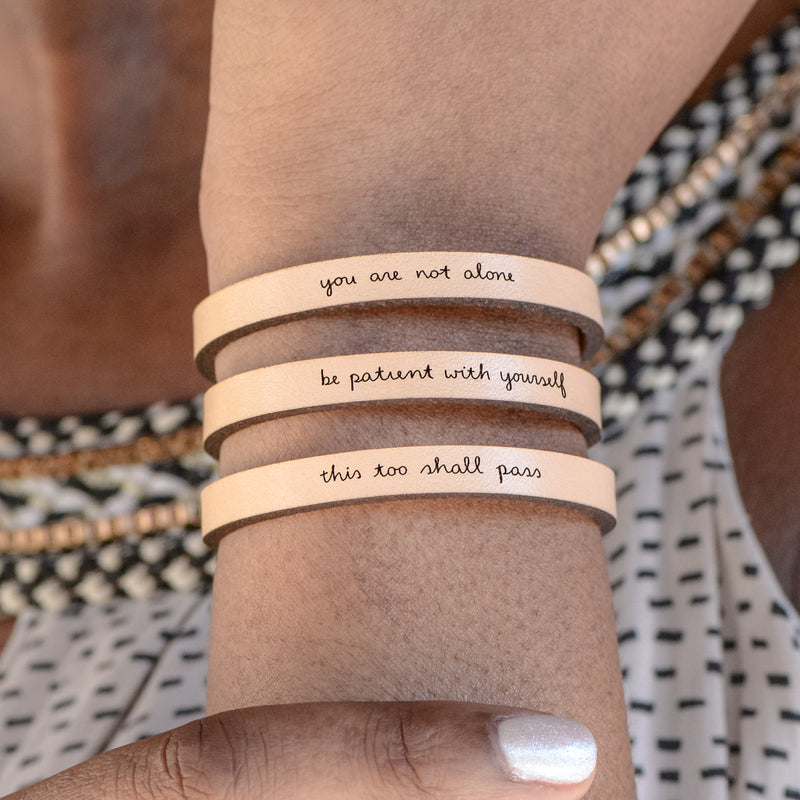 You Are Not Alone - Leather Inspirational Bracelet by Laurel Denise