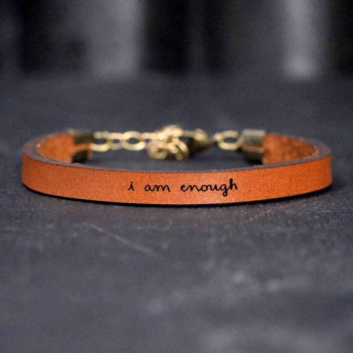 I Am Enough - Leather Bracelet