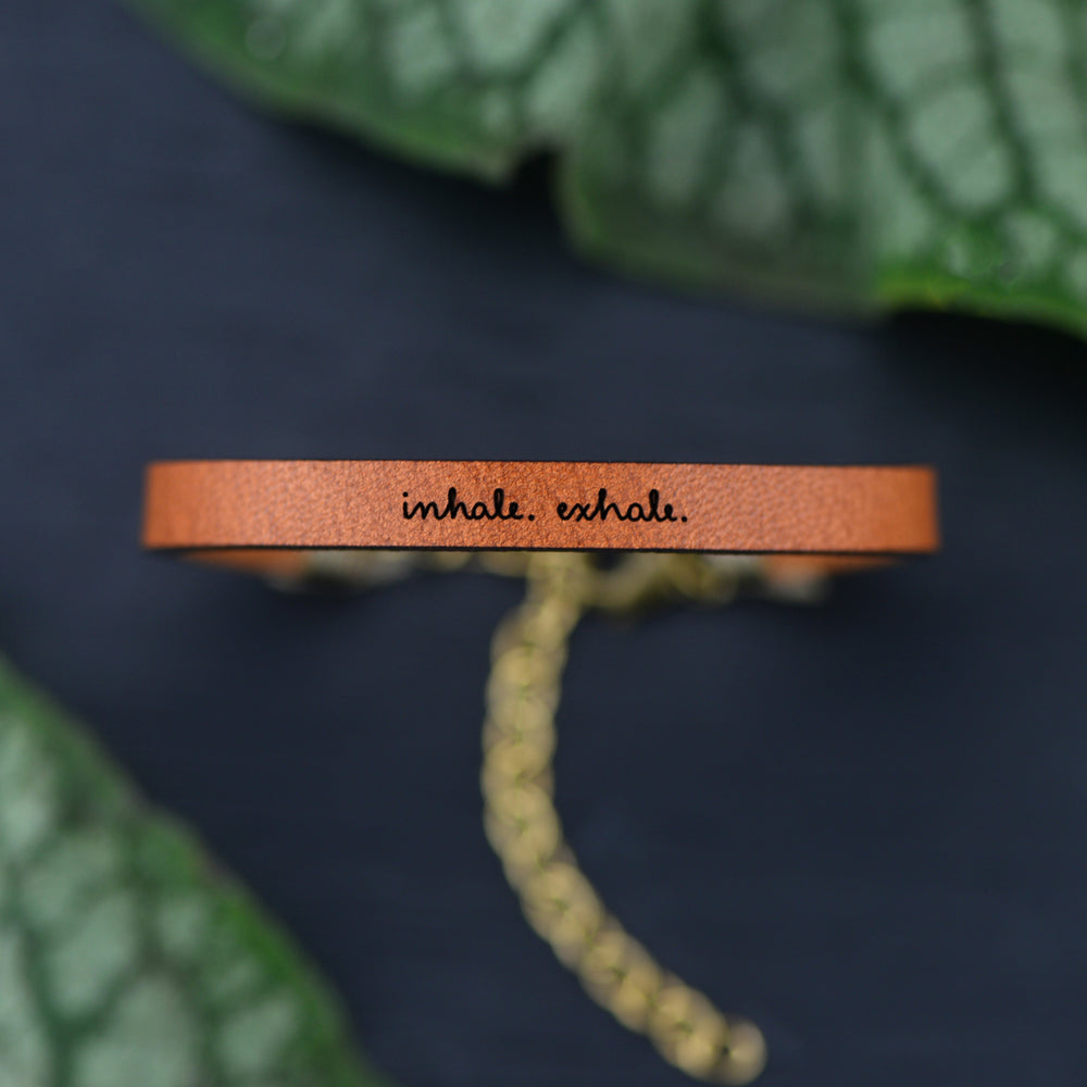 Inhale. Exhale. - Leather Bracelet