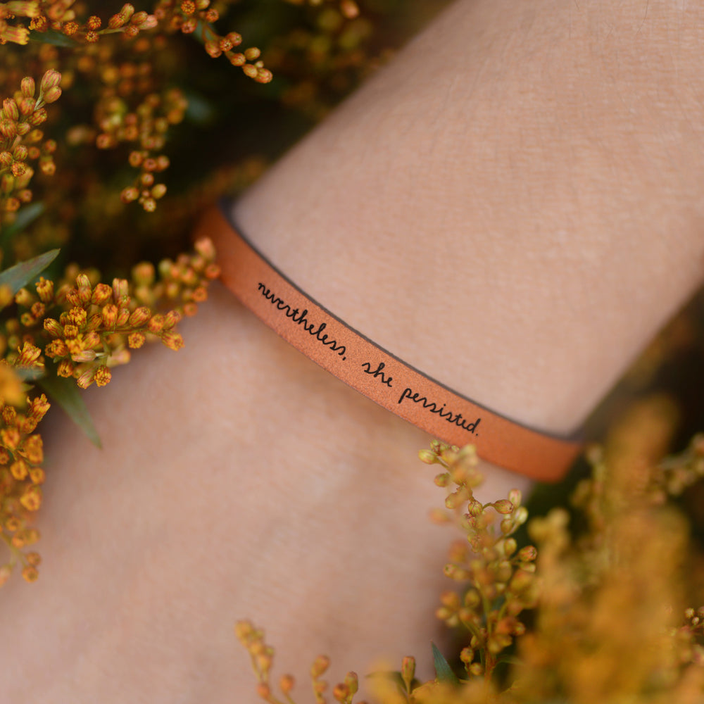 Load image into Gallery viewer, Nevertheless, She Persisted - Leather Bracelet