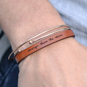 Stronger than the Storm - Leather Bracelet