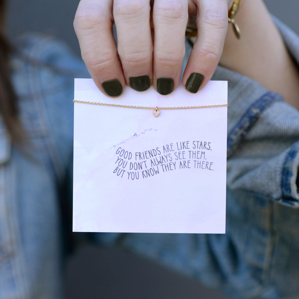 Good Friends Quote Card Necklace