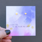 I Love You to the Moon and Back Quote Card Earrings