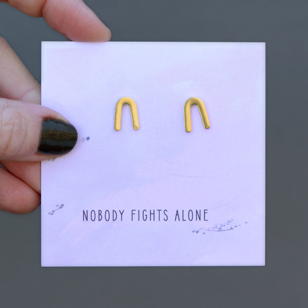 Nobody Fights Alone Quote Card Earrings