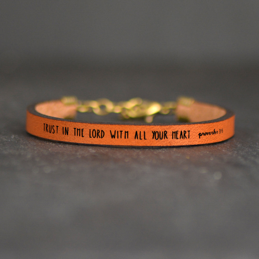 Trust in the Lord With All Your Heart - Proverbs 3:5 - Leather Bracelet