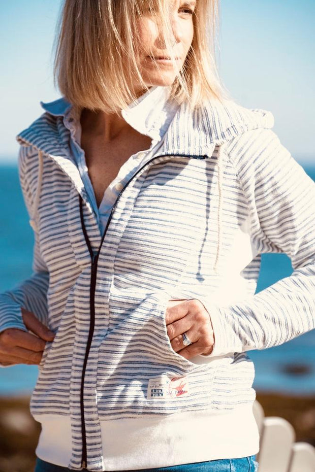 Women's French Terry Indigo Striped Hoodie-Tops-Bitter End Provisions