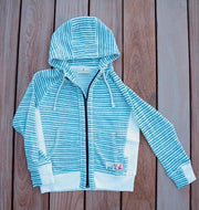 Kid's French Terry Indigo Striped Hoodie-Tops-Bitter End Provisions