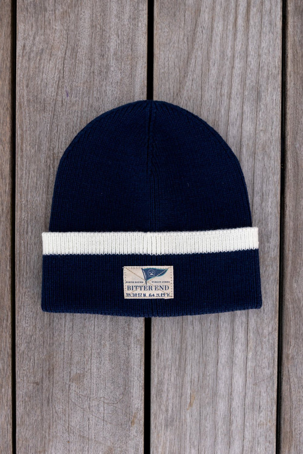 Navy Knit Burgee Beanie (Unisex)-Accessories-Bitter End Provisions