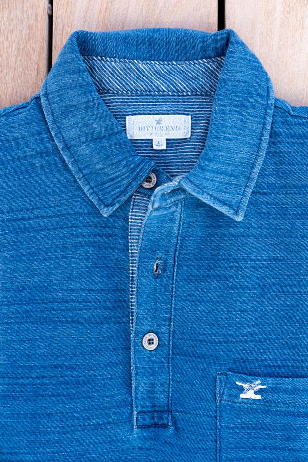 Men's Prince of Wales Polo | Blue Indigo-Tops-Bitter End Provisions