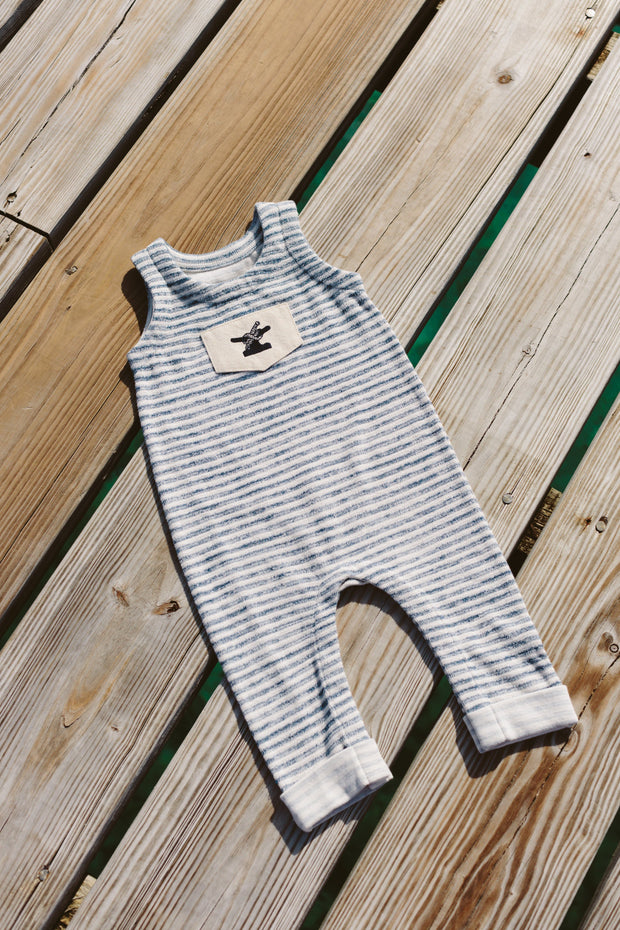 French Terry One Love Onesie | Indigo Striped-Baby-Bitter End Provisions
