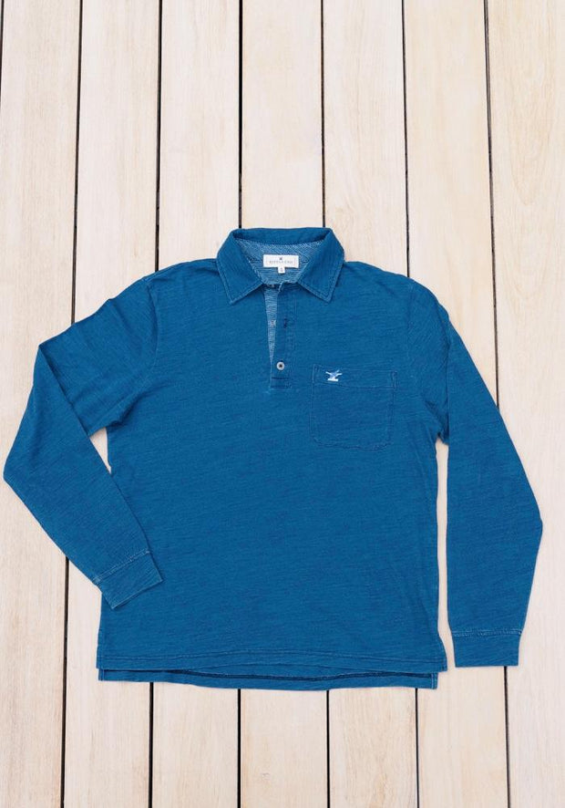 Men's Long Sleeve Prince of Wales Polo | Blue Indigo-Tops-Bitter End Provisions