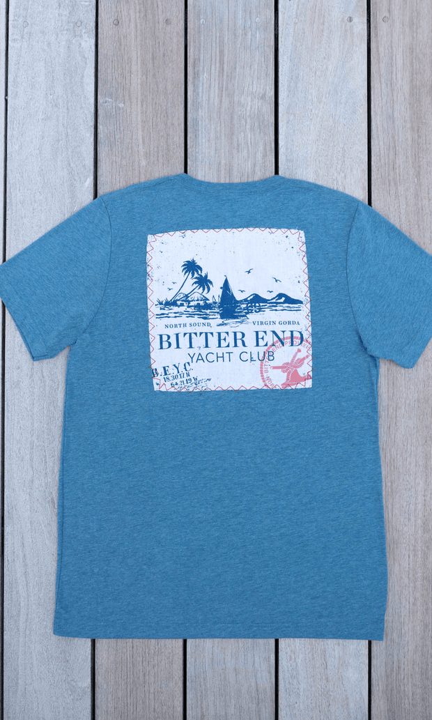 Men's Vintage Patch Tee | Beacon Blue-Tops-Bitter End Provisions