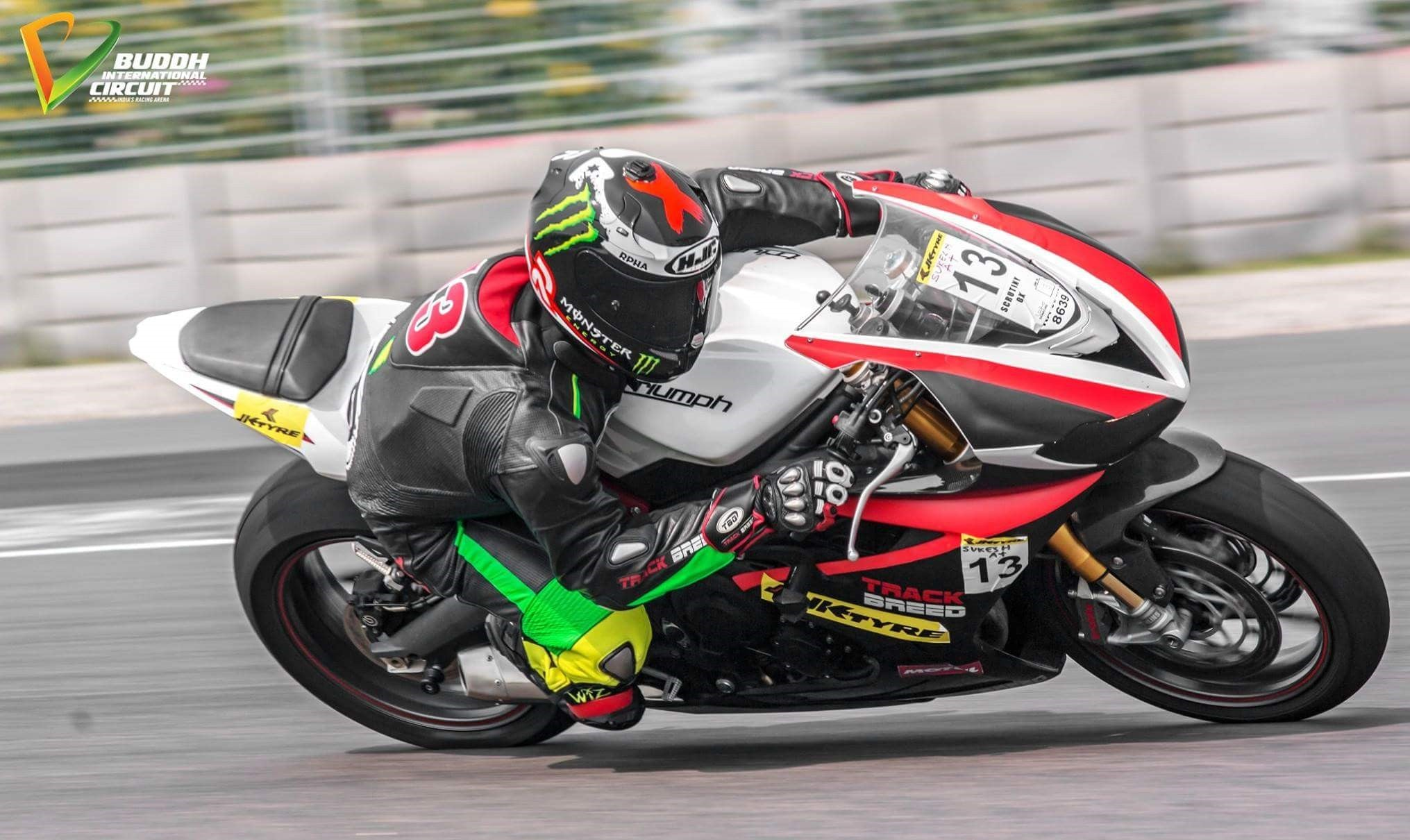 JK Tyre Superbike 600cc race on Triumph Daytona 675R at Buddh International Circuit, Delhi, India - 2015