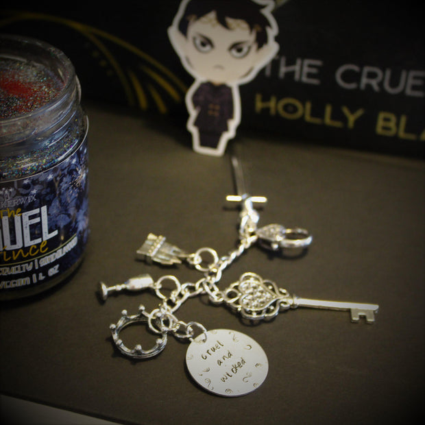 """Cruel and Wicked"" Hand Stamped Charm Key Ring - Cruel Prince-Merchandise-Flickerwix"
