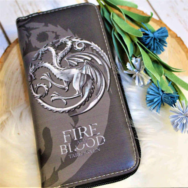 Targaryen House Long Zipper Wallet (GoT)-Merchandise-Flickerwix