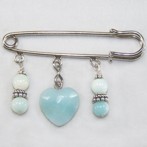 Amazonite Heart Silver Kilt Pin