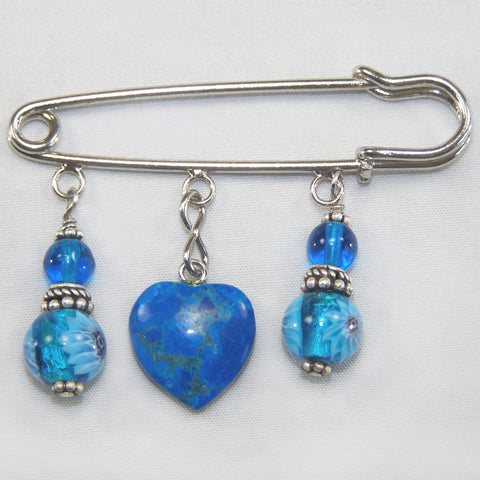 Blue Lampwork Glass w/Blue Jasper Heart Silver Kilt Pin