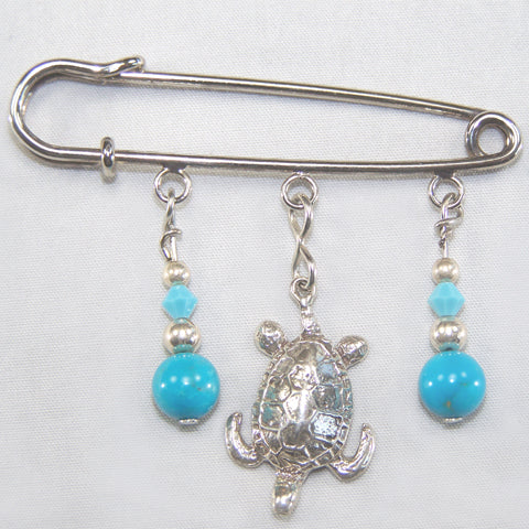Turquoise & Sterling Silver Tuttle Silver Kilt Pin