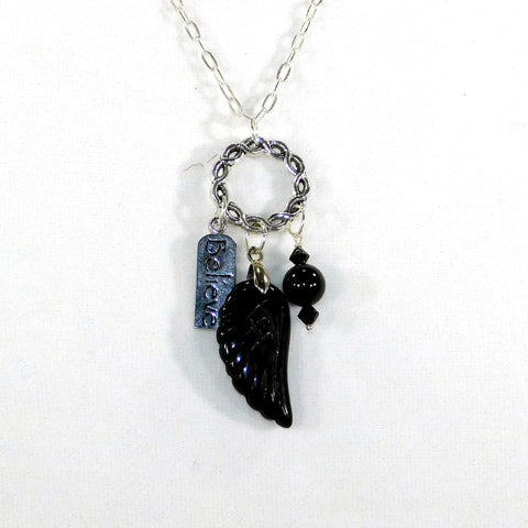 Bee Faithful Angel Wing Charm Necklace