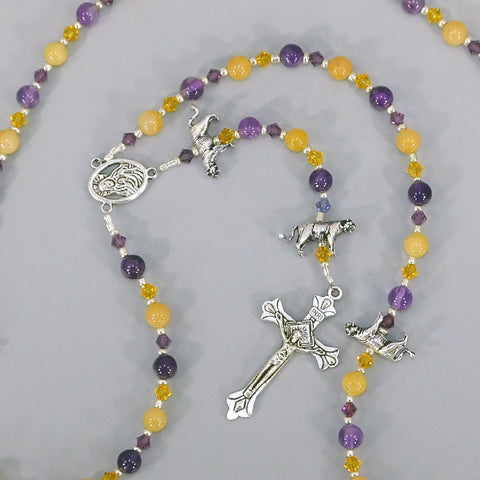 "Amethyst and Yellow Jade ""LSU"" 5-Decade Rosary"
