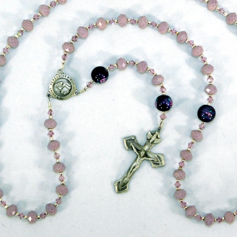 Lavender Czech Glass 5-Decade Rosary