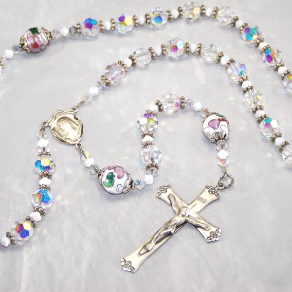 Clear Swarovski Sterling 5-Decade Rosary