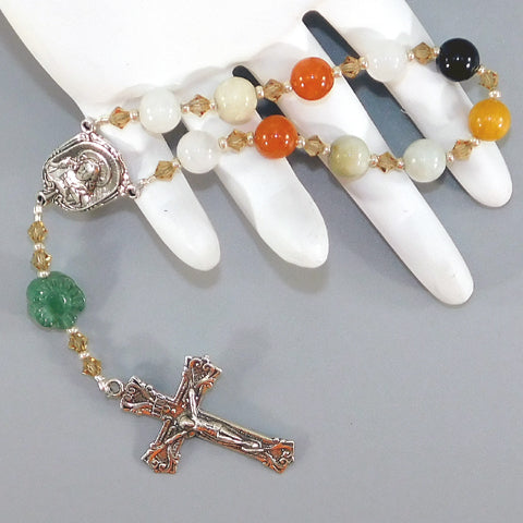 Mixed Jadeite 1-Decade Rosary