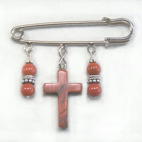 Poppy Jasper Cross Silver Kilt Pin