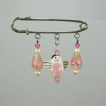 Pink Lampwork Glass & Ceramic Angel Silver Kilt Pin