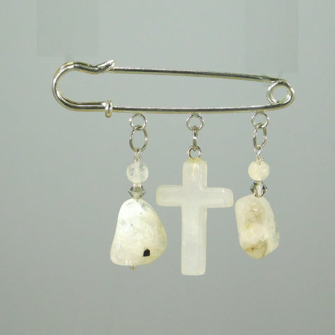Milky Quartz Cross Silver Kilt Pin
