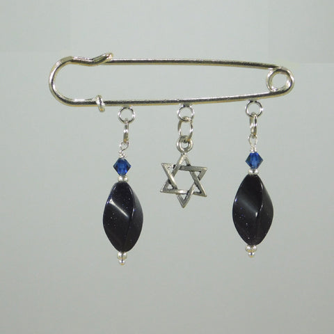 Blue Goldstone Silver Kilt Pin