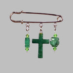 Green Aventurine Cross Silver Kilt Pin