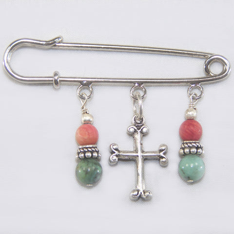 African Turquoise & Red Coral Silver Kilt Pin (w/Cross)