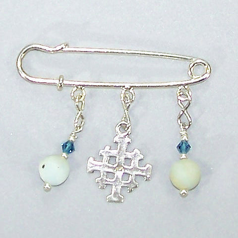 Matte Amazonite Jerusalem Cross Silver Kilt Pin